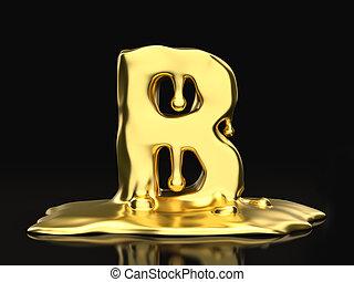 Liquid gold letter B