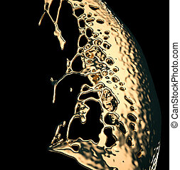 Liquid gold or oil splashes isolated on black