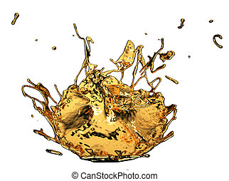 Liquid gold or oil splashes isolated on white
