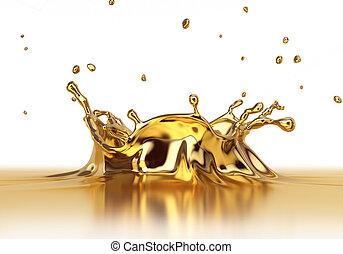 Liquid gold spash close up.