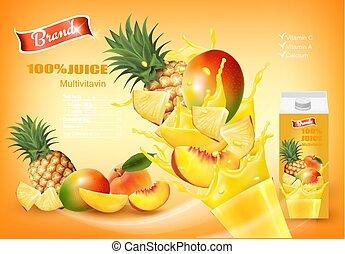 liquid., het bespaten, mulitivitamin, sap, ontwerp, vector., vruchten, fris, template.