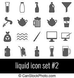 Liquid. Icon set 2. Gray icons on white background.