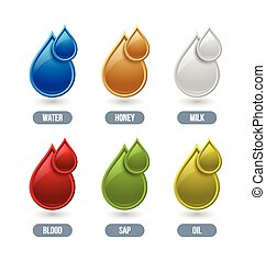Liquid icons - Set of glossy liquid icons isolated on white...