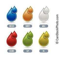 Liquid icons - Set of glossy liquid icons isolated on white ...