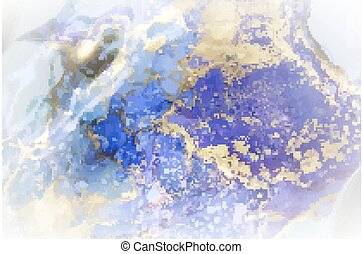 Liquid ink, abstract background in gold, blue and purple