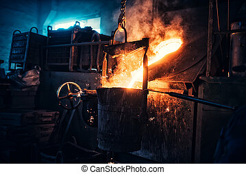 Liquid iron flowing in steelworks. Industrial details of...