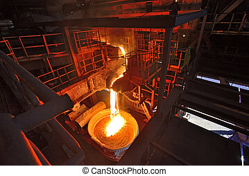 Liquid iron from the ladle inside of steel plant