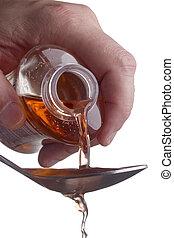 Liquid medicine poured into a spoon. Dosing of medications.
