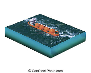 Liquid natural gas tanker ship on section of sea, water...