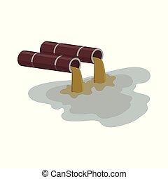 liquid., rura, brązowy, fałdzisty, przemysłowy, -, brudny, woda skażenie, fabryka