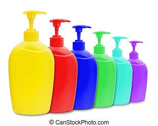 liquid soap bottles - different multicolored plastic bottle...
