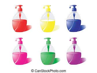 Liquid Soap - Set of bottles of liquid soap of different...