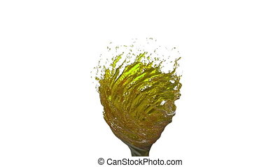 Liquid tornado on white background. Beautiful colored paint is whirling. Isolated transparent vortex of liquid like juice, 3d animation with alpha matte. Version 4