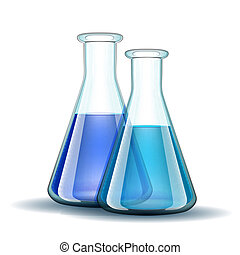 liquid., transparent, flacons, laboratoire, bleu, chimique