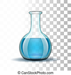 liquid., transparent, laboratoire, bleu, chimique, flacon