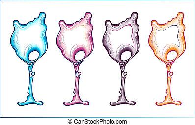 Liquid wine glass set