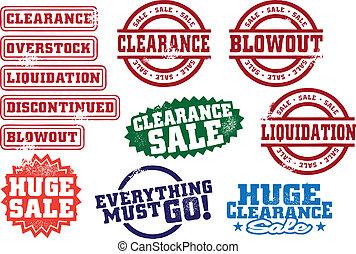 liquidación de todos los géneros, sellos