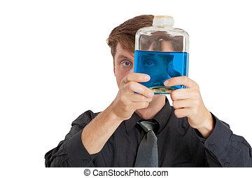 liquide, chèques, bouteille, homme, propriétés, physique