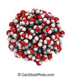 liquide, eau, water., modèle, moléculaire, composition