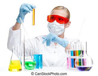 liquide, fiole, tient, respirateur, orange, chimiste