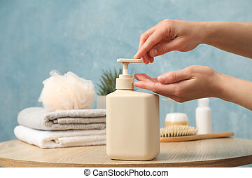 liquide, hygiène, soap., concept, personnel, femme, pression, mains