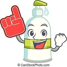liquido, schiuma, cartone animato, forma, dito, sapone
