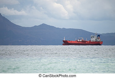 Liquified petroleum gas carrying tanker in the bay.