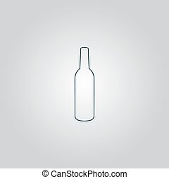 liquor bottle icon - Liquor bottle. Flat web icon or sign...