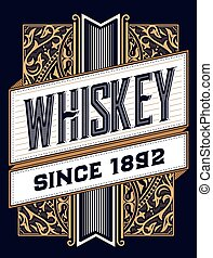 Liquor label with design elements