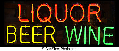 Liquor Sign - A multi colored neon sign reading Liquor Beer...
