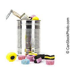 liquorice allsorts in a tin isolated on a white background
