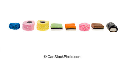 liquorice allsorts isolated on a white background