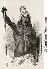 Lira tribe chief old engraved portrait, eastern Africa. Created by Neuville, published on Le Tour du Monde, Paris, 1867