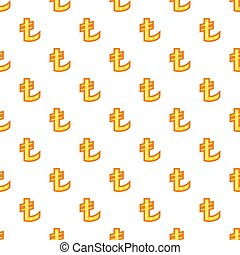Lira currency symbol pattern, cartoon style
