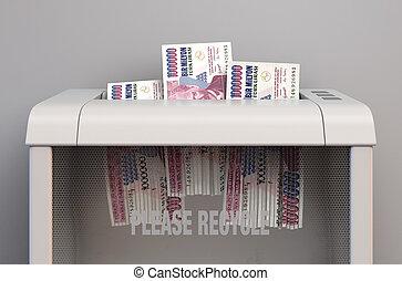 Lira In Shredder - A regular office paper shredder in the ...