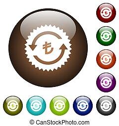 Lira pay back guarantee sticker color glass buttons