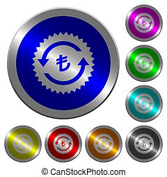 Lira pay back guarantee sticker luminous coin-like round color buttons