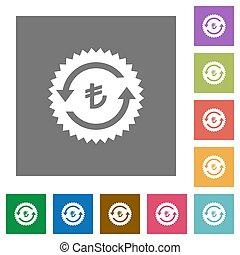 Lira pay back guarantee sticker square flat icons