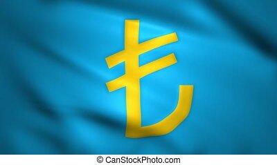 Lira symbol waving on the flag