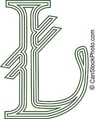 lira, turecko, znak, ikona, proužkovaný, vektor, ilustrace