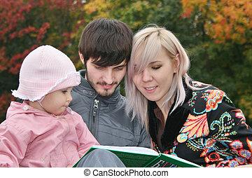 lire, automne, livre, famille, bébé
