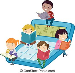 lire, calculatrice, math, stickman, gosses, livre