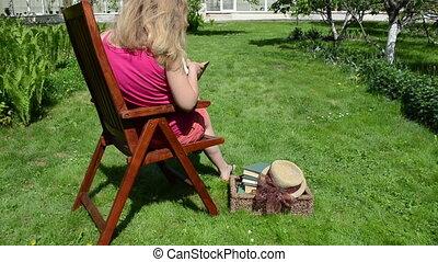lire, chaise, femme, livre