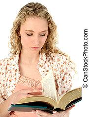 lire, femme, livre