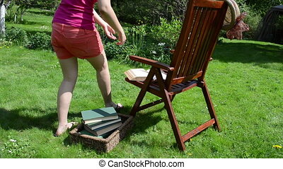 lire, girl, livre, chaise