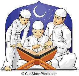 lire, gosses, al-quran, th, apprendre