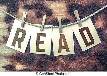 lire, goupillé, cartes, ficelle, thème, affranchi, concept