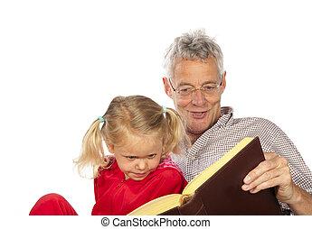 lire, grand-père, sien, petit-enfant