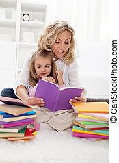 lire, histoire, cueillette, maman
