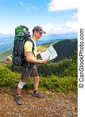 lire, homme montagne, carte touristes